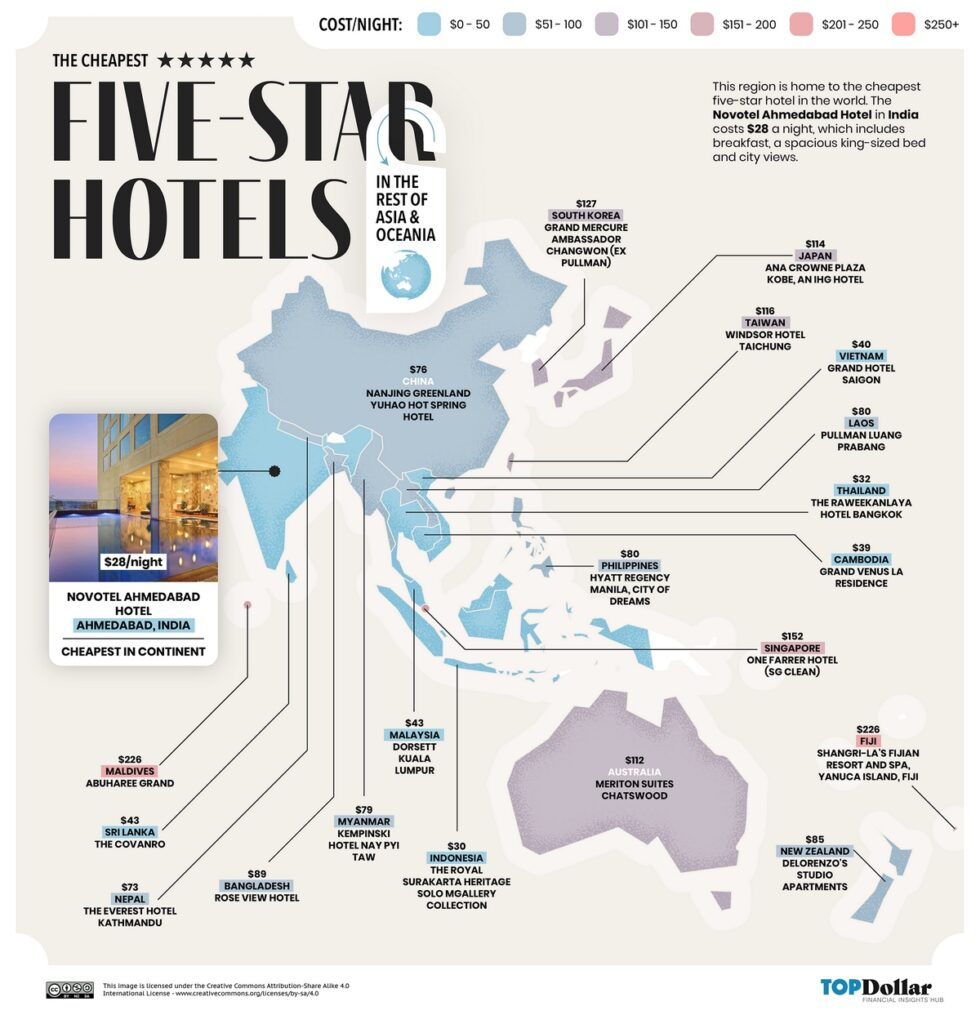 The cheapest five-star hotels in Asia and Oceania mapped