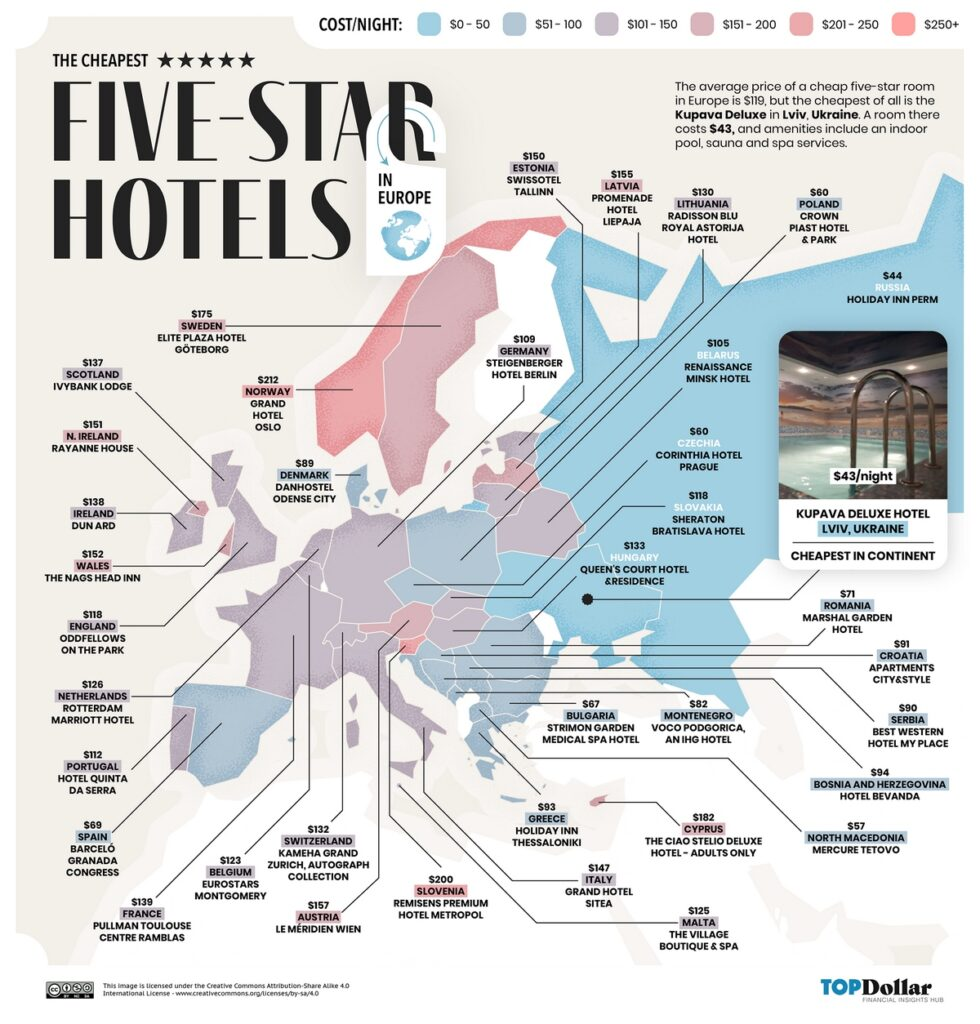 The cheapest five-star hotels in Europe mapped