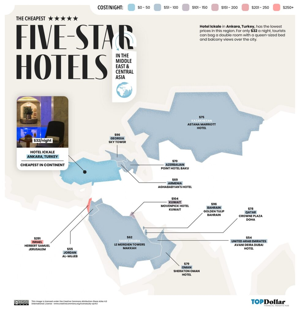 The cheapest five-star hotels in the Middle East and Central Asia  mapped