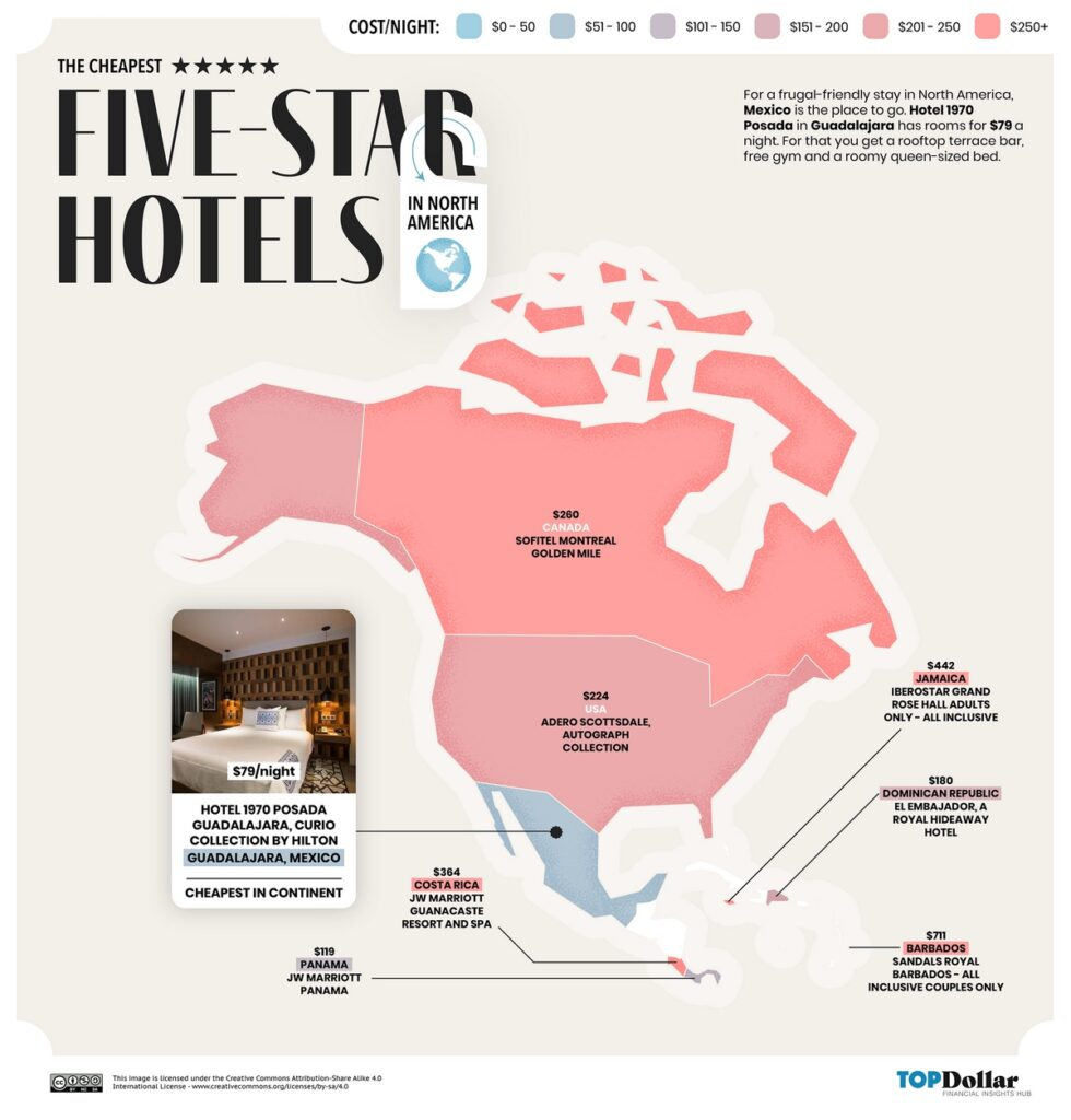 The cheapest five-star hotels in North America mapped