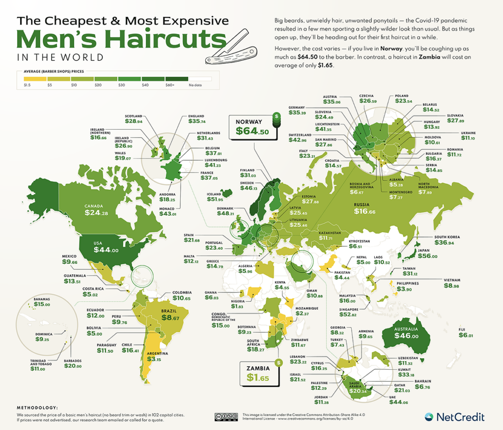 The map cheapest and most expensive men's haircuts in the world