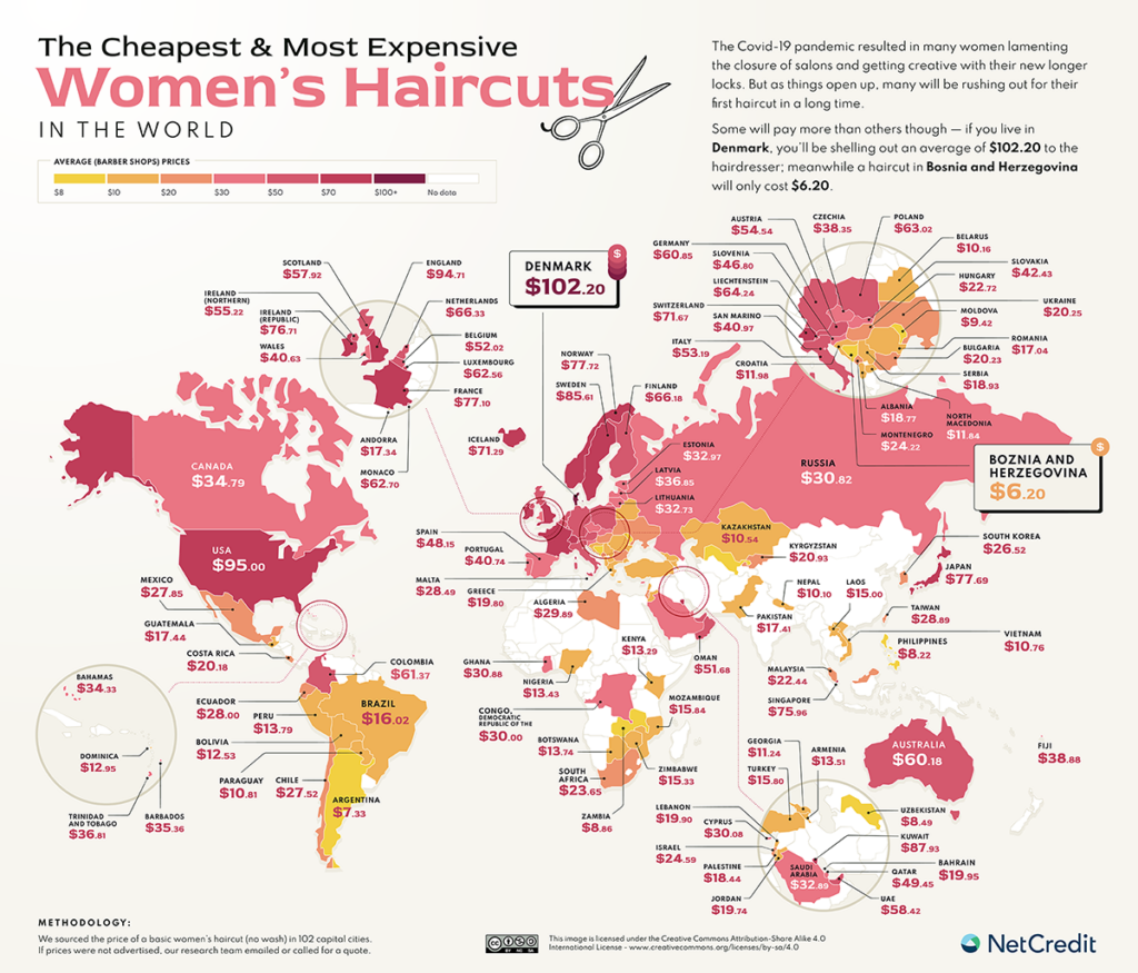 The map of the cheapest and most expensive women's haircuts in the world