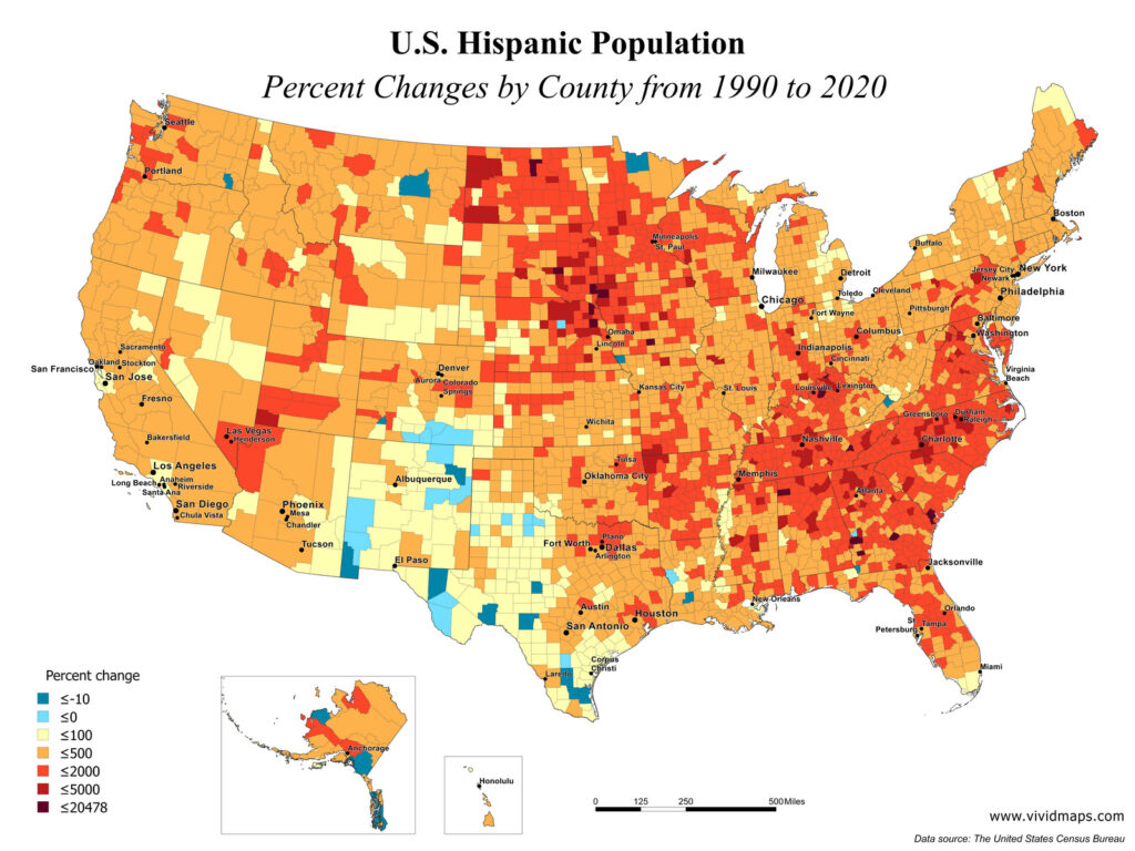 U.S. Hispanic Population: Percent changes by county from 1990 to 2020