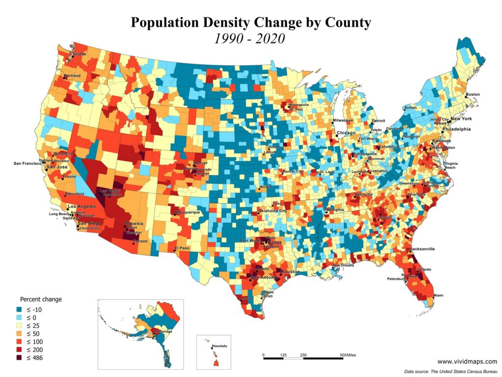 U.S. population density change mapped