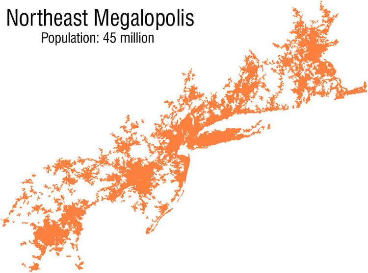 Map of Northeast Megapolis with a population of 45 million