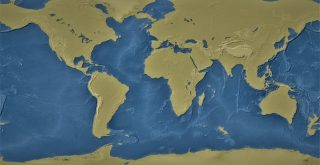 Map of Earth without water